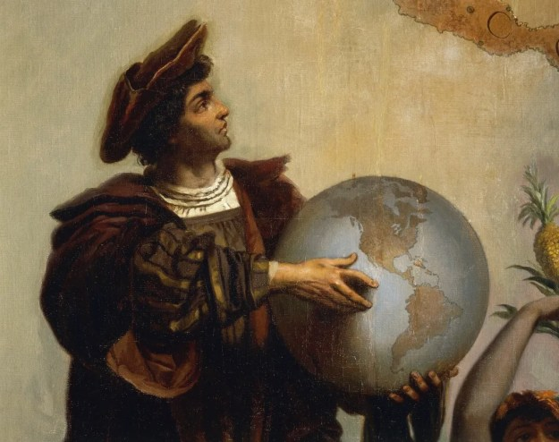 Christopher Columbus detail from allegorical painting by Peter Johann Nepomuk Geiger. Photo by DeAgostini/Getty Images.