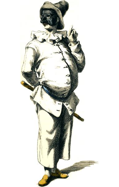 Image of Pulcinella via Wikimedia Commons.