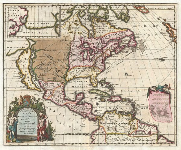 Louis Hennepin Map of North America (1698). Photo via Wikimedia Commons.