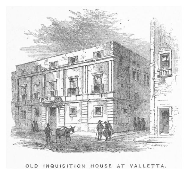 Sketch of the Old Inqusition House at Valletta. Image via Wikimedia Commons.