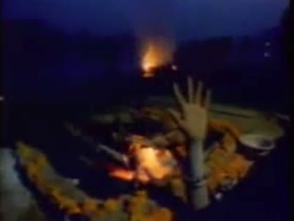 Baba rising in the cremation ghat at midnight for meditation. A still from Sadhus: India's Holy Men/Living With The Dead (1995), a film by Rajesh Bedi and Naresh Bedi. Colour, 50 mins.
