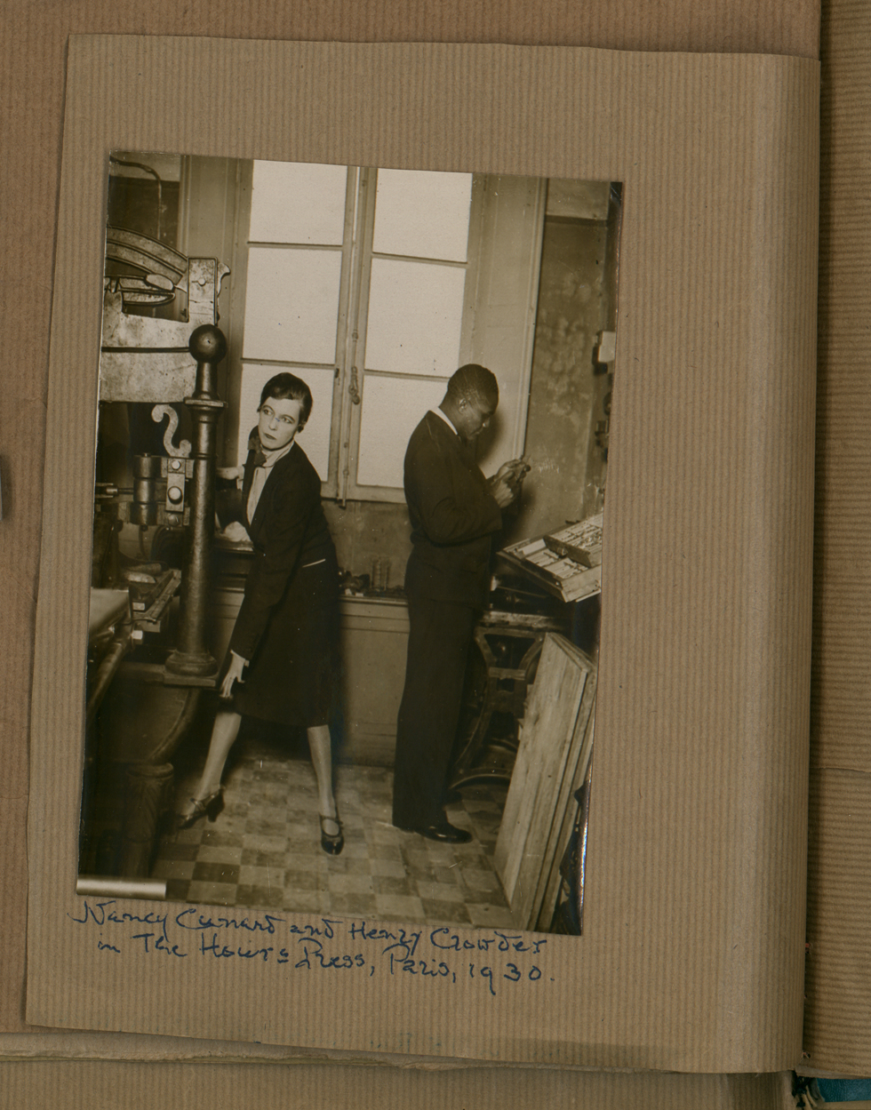 Henry Crowder with Nancy Cunard in her printing house, Hours Press at 15 rue Guénégaud, Paris, 1930 © Rights reserved, the inheritors of Nancy Cunard