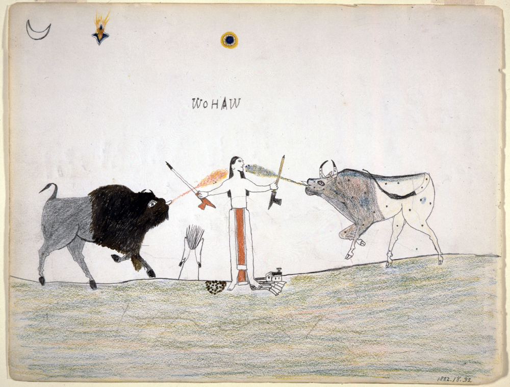 A Man Receiving Power from Two Spirit Animals, 1877. Drawing by Wohaw (1855-1924), Kiowa, Oklahoma. Pencil and colored pencil on crayon. 8 . x 11 3/8 in. (21 x 28.9 cm) St. Louis (Missouri), Missouri History Museum.