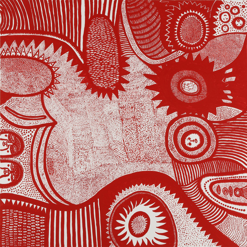 SHEDDING TEARS TO THE SEASON (2015) by Yayoi Kusama. Acrylic on canvas, 194 x 194 x 7 cm
