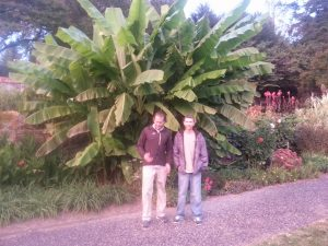 Bill Cave and David Barron in the garden.