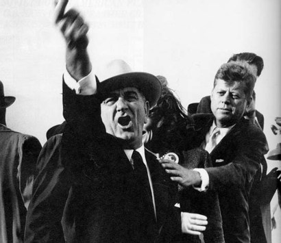 LBJ restrained by JFK