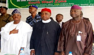 L-R:Governor Abiola Ajimobi of Oyo State, Chairman, Revenue Mobilisation, Allocation and Fiscal Commission, Mr Elias Mbam, representative of Ekiti State Governor, Mr Funmi Afuye and representative of Ogun State Governor, at a Public Hearing on Revenue Allocation Formular, South-West Zone in Ibadan, recently.