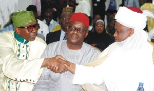 L-R: President, Christian  Association of Nigeria (CAN), Pastor Ayo Oritsejafor, Minister of Health, Prof. Onyebuchi Chukwu, and Sultan of Sokoto, Alhaji Sa'ad Abubakar, at a Summit for Child Health in Abuja, recently.