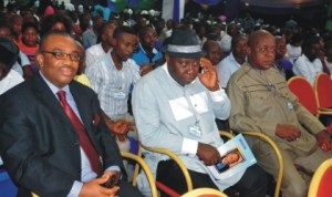 Participants at the 2nd International State Conference on Democracy and Good Governance in Port Harcourt, yesterday. Among them are General Manager, Rivers State Newspaper Corporation, Mr. Celestine Ogolo (left) and General Manager, Rivers State Television, Mr. Tonye Ekong (middle).
