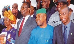 L-R: Minister of State for Foreign Affairs, Prof Viola Onwuliri, Vice Chancillor, University of Nigeria Nsukka (UNN), Prof Benjamin Ozumba, Deputy Speaker, House of Representatives, Chief Emeka Ihedioha and Executive Secretary, Tertiary Education Trust Fund, Prof Suleiman Bogoro at a colloquium in honour of late Prof Celestine Onwuliri at UNN, Enugu State, yesterday.