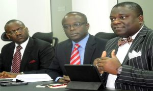 L-R: Partner, Management Consulting, KPMG, Mr Segun Sowande; Partner & Head of Audit Service, Mr Tola Adeyemi and Partner, Tax Regulation & People Services, Mr Ajibola Olomola, at a News Conference on KPMG Chief Financial Officers (CFOs) Survey Report Launch in Lagos, recently. Photo: NAN