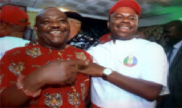 PDP Governorship candidate Rivers State, Barr. Chief Nyesom Ezenwo Wike (left) rejoicing with his counterpart for APC, Dr. Dakuku Adol Peterside during a political peaceful accord organised by AIG Zone Six at Police Officer Mess Port Harcourt recently.                    Photo: Nwiueh Donatus Ken