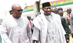 President Goodluck Jonathan (right) with the visiting President John Mahama of Ghana, at the Nnamdi Azikiwe International Airport, Abuja, recently.        Photo: NAN