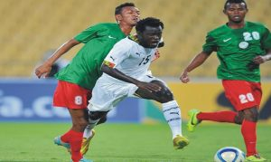Action between Ghana and Zambia at the COSAFA Cup on Wednesday