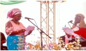 Rivers State Deputy Governor,  Dr (Mrs) Ipalibo Harry Banigo (left), taking her oath of office photo: Chris Monyanaga