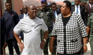 L-R: Rivers State Governor, Chief Nyesom Wike (2nd left), with the President of the Rivers State Customary Court of Appeal, Justice Christy Gabriel-Nwankwo , during his inspection of the Obio Customary Court premises in Port Harcourt, yesterday. Inset is the Governor, inspecting the level of work at the forth-floor of the Court Annex in Port Harcourt