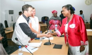 Rivers State Deputy Governor, Dr. (Mrs) Ipalibo Harry Banigo (right), in a handshake with Field Coordinator, Doctors Without Borders, Dr. Imri Schattmez, during a stakeholders meeting at Government House, Port Harcourt, recently With them is the Medical Team leader, Kiera Sargeant (2nd left).