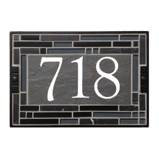 "9""x14"" Black Cathedral House Number Sign"