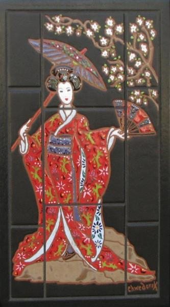 A beautiful mural of an authentic  Japanese woman created for a customer!