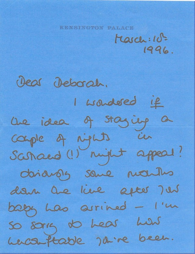 The holiday offer: nearly four months later, Diana writes to Deborah