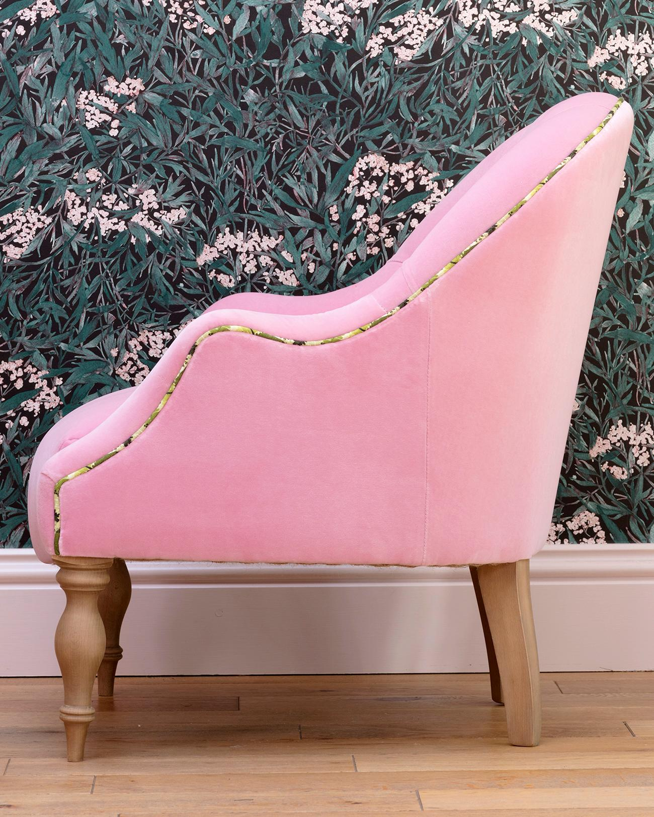 sofasandstuff reviews zuo sofa leg the best comfy chairs home sunday times sofas stuff s collaboration with pink house showcases emilie georgia fern fabric piping and a velvet from designers guild 999