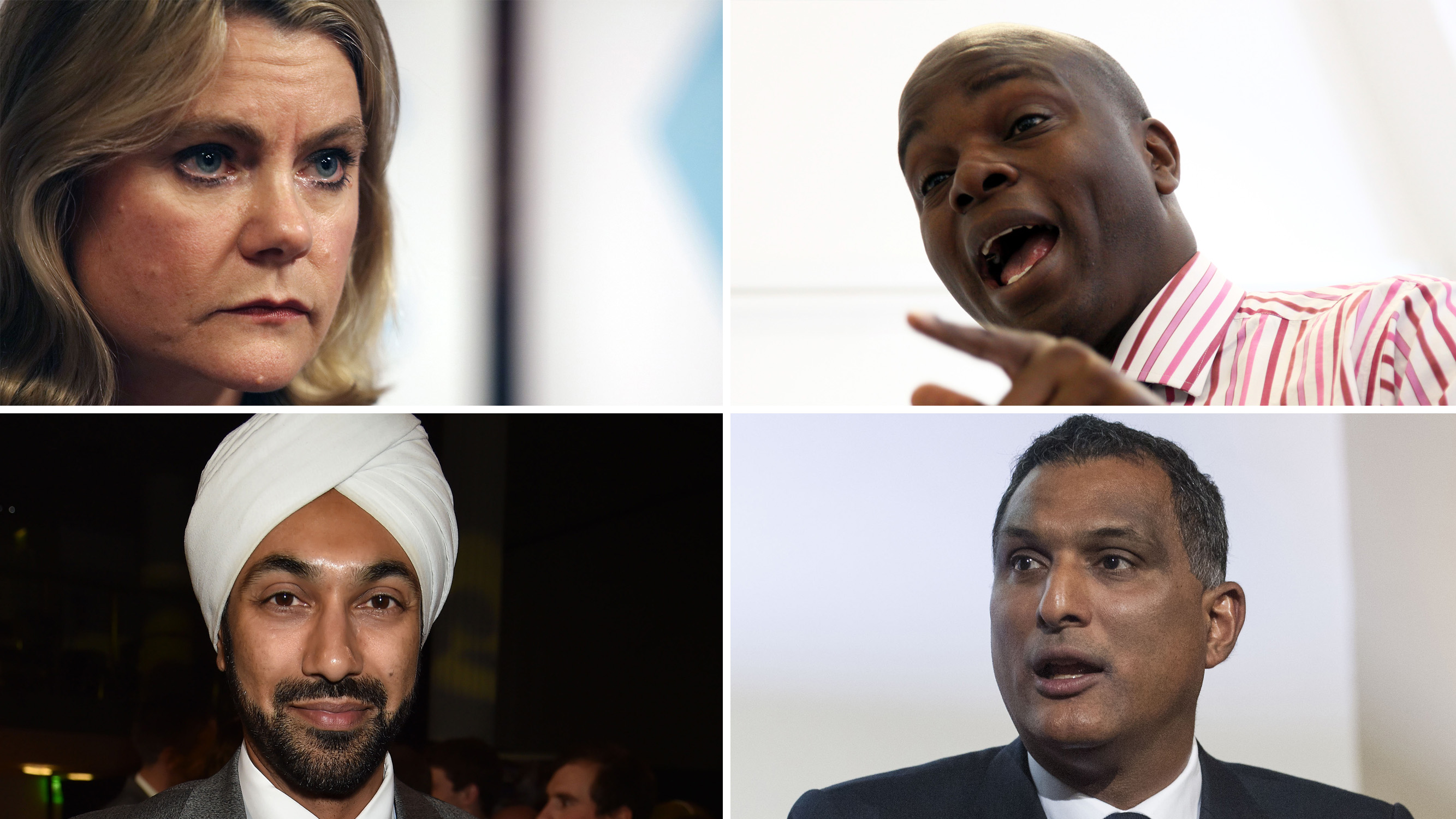 Tory mayoral prospects for London: clockwise from top left, Justine Greening, Shaun Bailey, Syed Kamall and Kulveer Ranger