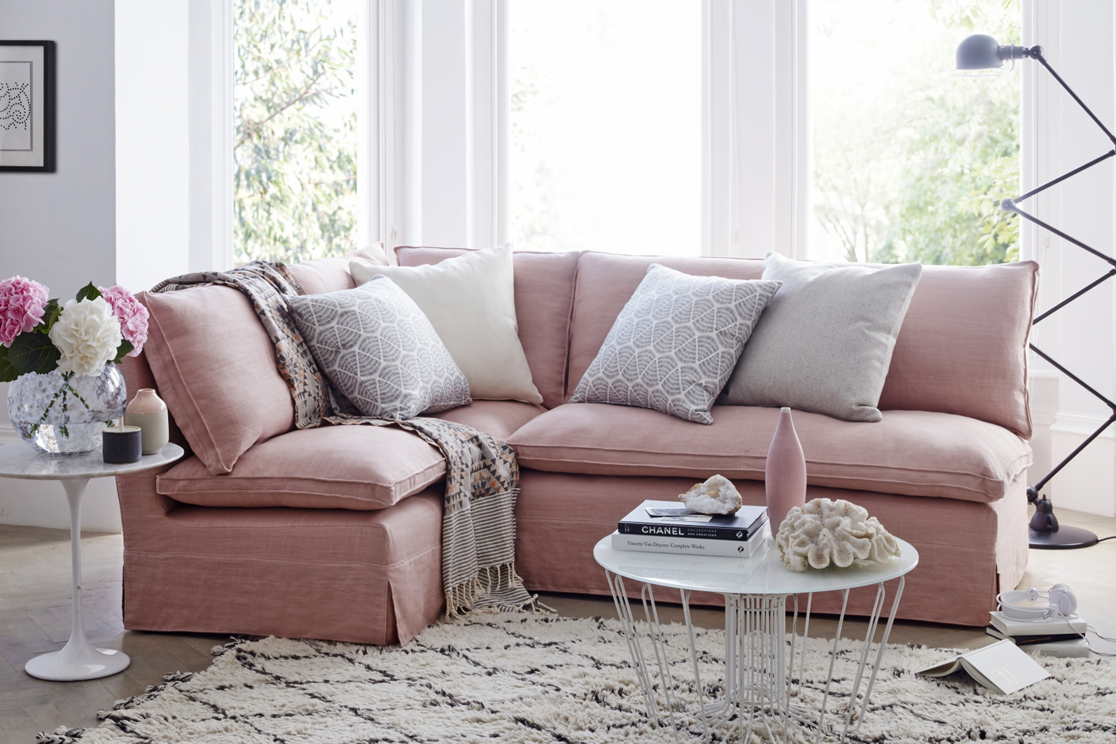 2 seater l shaped sofa bed antique style sofas top 10 pink | home the sunday times