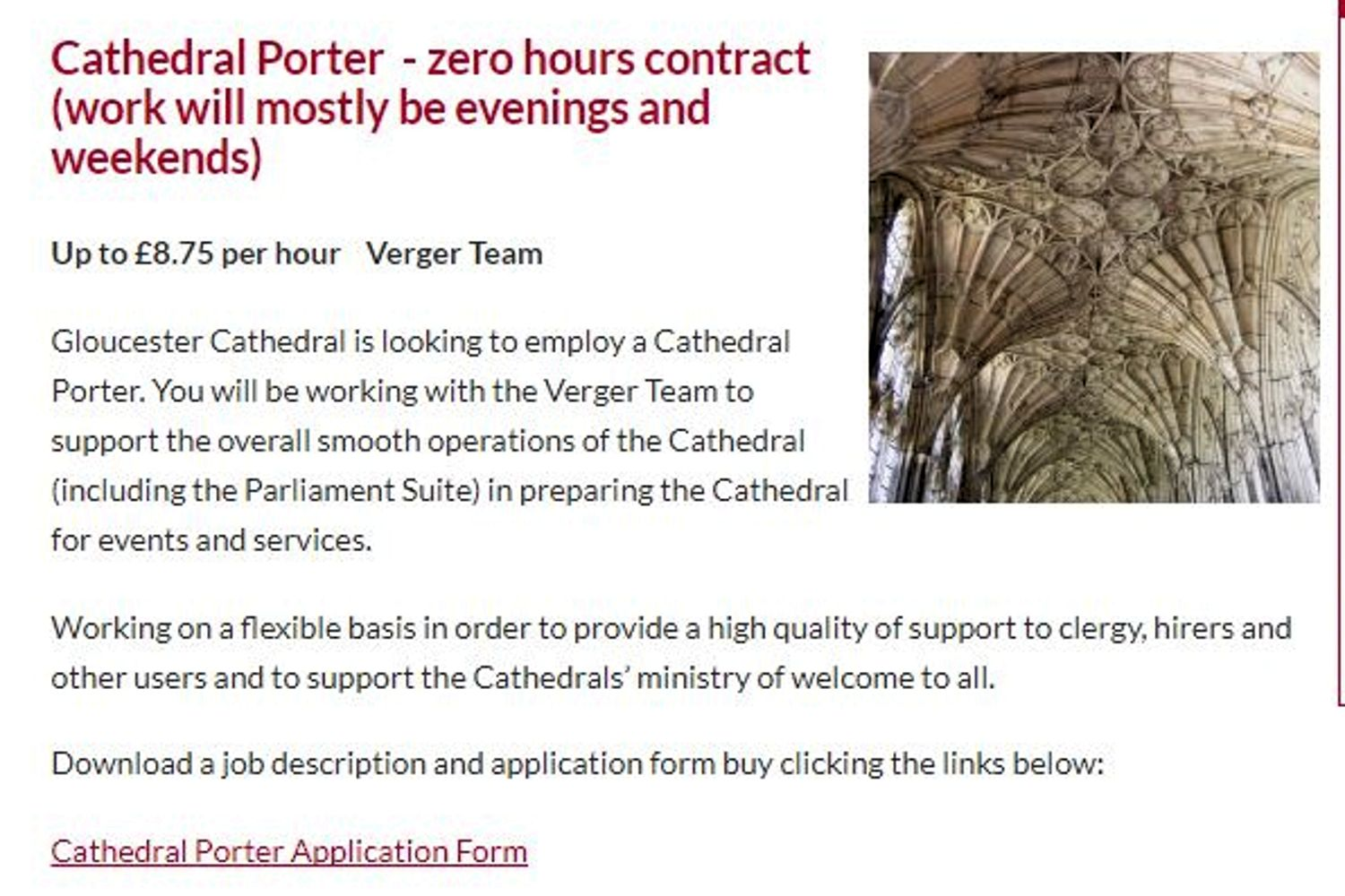A Job On A Zero-Hours Contract Is Advertised By Gloucester Cathedral