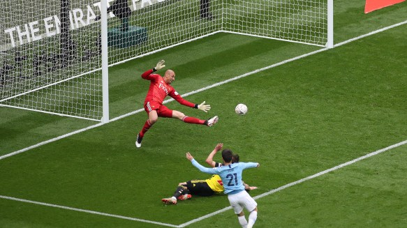 David Silva scoring Manchester City's first goal against Watford in the FA Cup Final