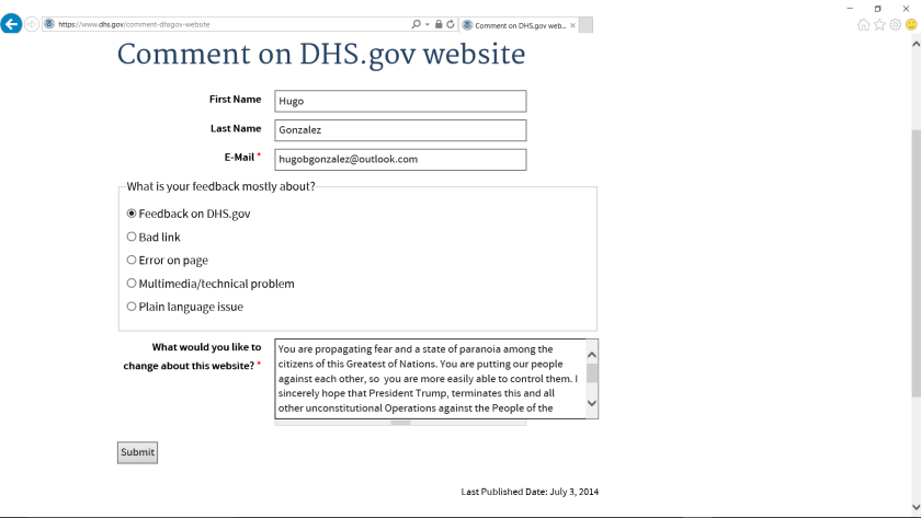 Department of Homeland Security, Webpage 1 of 2