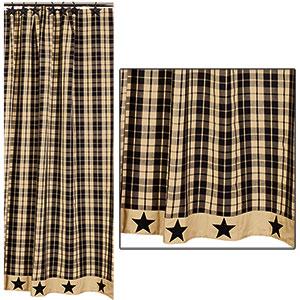 black farmhouse star shower curtain 72x72