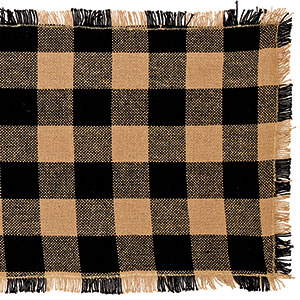 36 Black Check Cotton Burlap Runner