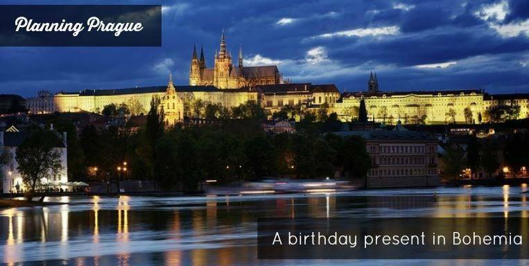 Prague castle at dusk and Vtlava river.