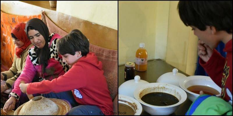 Tasting and learning about the local production of Argan Oil.