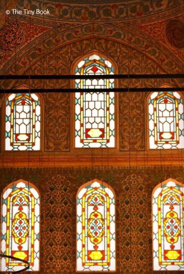 The Holy Soul of Istanbul: The beauty of the stained glass windows inside the Blue Mosque, Istanbul.