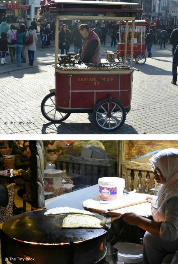 1 - Roasted chestnuts in the front cart. Simit (Turkish bagel with sesame seeds) in the one behind.  2 - A woman cooking Gözleme on the street. Eaten with potatoes, cheese or spinach.