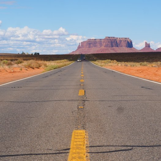 Monument Valley - looking south on U.S. Route 163 from 13 miles (21 km) north of the Arizona–Utah border