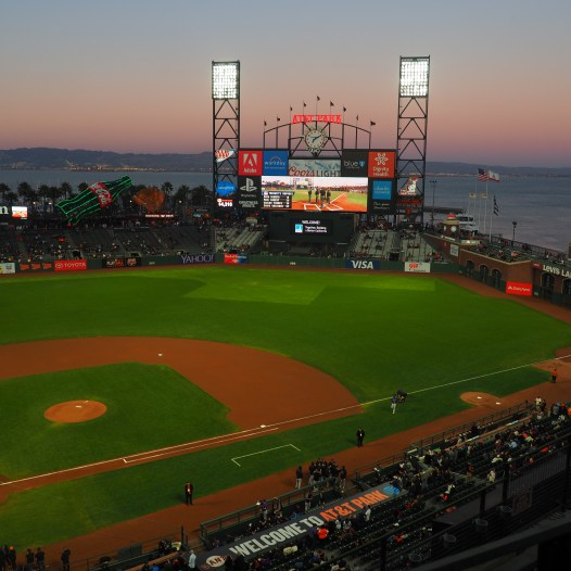 Stadion AT&T Park, right before the game at sunset