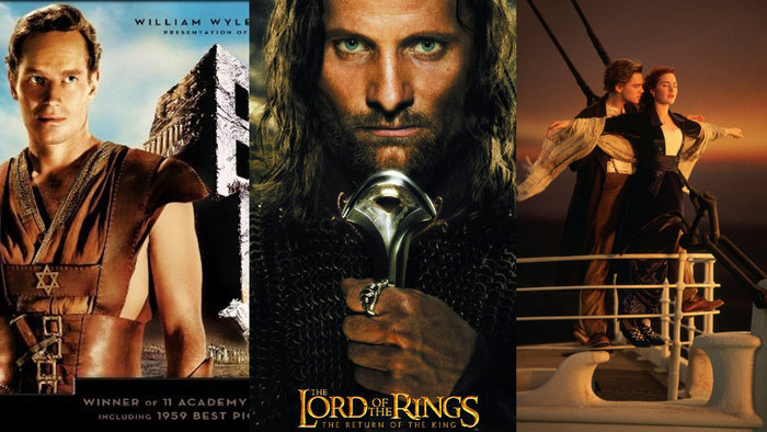 Οι τρεις ταινίες που κατέχουν το ρεκόρ των 11 Οσκαρ: Ben Hur,Titanic και The Lord of the Rings