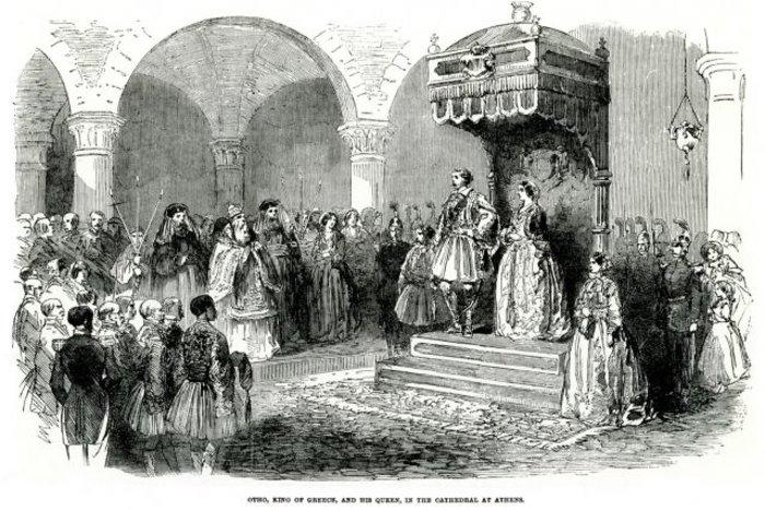 Ο Όθωνας και η Αμαλία εκκλησιάζονται στη Μητρόπολη Αθηνών, 1854.