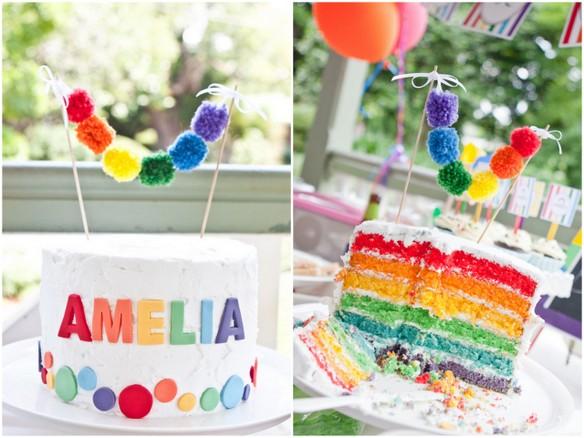 Pendón de ponpomes para decorar un pastel
