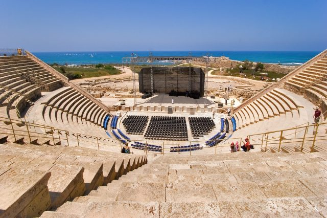 The Roman amphitheater in Caesarea on Mediterranean sea, Israel, tourist spots in israel, best places to visit israel
