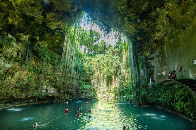 Ik Kil Cenote in the quintana roo province of Mexico. mexico travel.