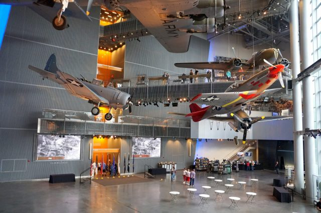 Fighter jets hanging on the ceiling at The National World War II Museum