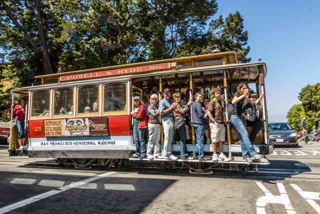 Cable Car on Powell street. things to do in s.f.  and attractions san francisco