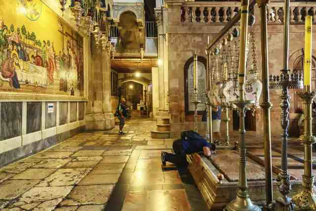 The Stone of Unction in the church of the Holy Sepulcher is a must see in jerusalem