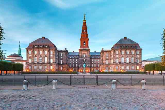 Christiansborg, palace and government building, the seat of parliament, in central coppenhagen, capital of Denmark. one of the interesting things to do copenhagen.