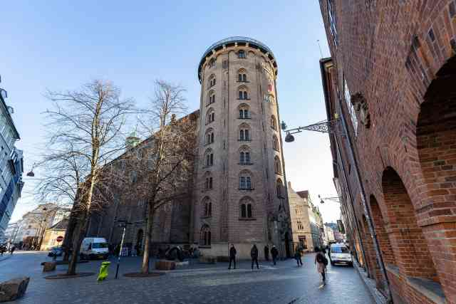 The Round Tower in the historic city center. Climbing up is one of the best things to do in Copenhagen Denmark and one of the unique things to do in Copenhagen