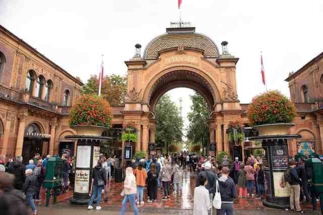 The entrance gate to Tivoli Gardens in Copenhagen, one of the fun things to do in Denmark