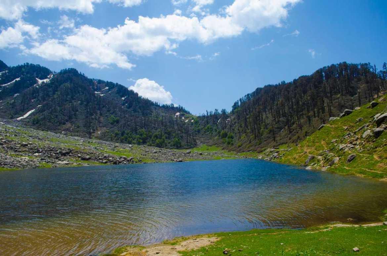 Trekking in the Himalayas around Kareri lake in Himachal Pradesh